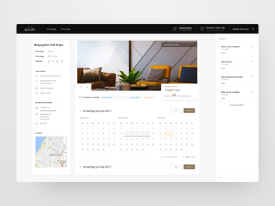 The Know - Hotel View amenities dashboard theknow calendar reviews booking ux ui review hotel