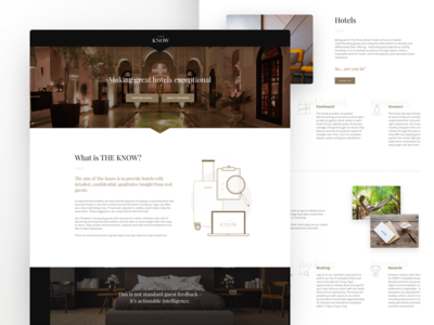 The Know - Landing Page interface guest reports reviewer review booking hotel ux ui landingpage homepage landing page