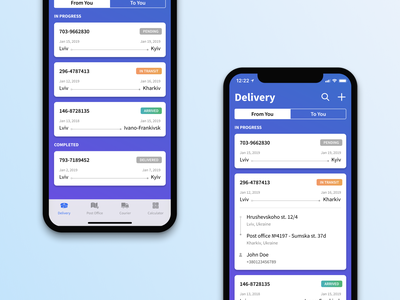 Shipments list minimal mobile clean ios input app figma design gradient iphone x muzli transportation delivery status delivery service delivery app ui ux