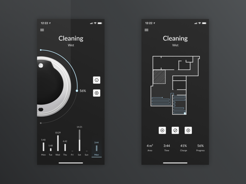 Robot Vacuum Cleaner App cleaner ux ui muzli mobile iphone x ios figma design clean app