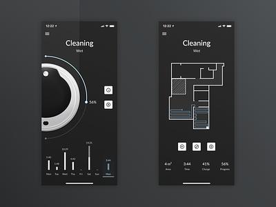Robot Vacuum Cleaner App cleaner ux ui muzli mobile iphone x ios figma design clean app