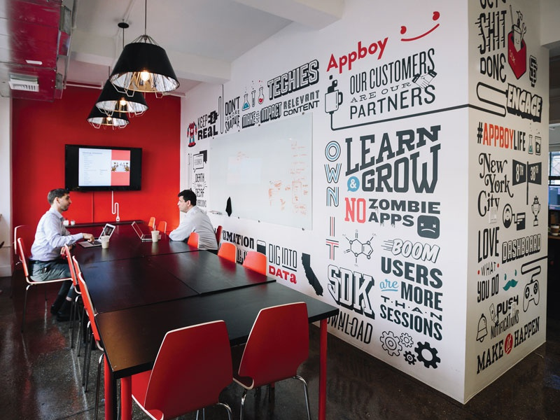 Appboy Office Mural appboy mural office wallpaper design type typography lettering