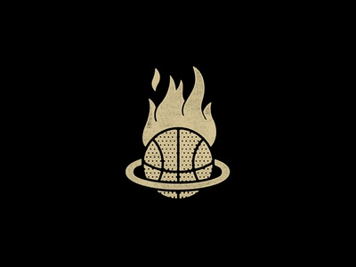 Distressed Golden Basketball set Ablaze in a Rim Without a Net