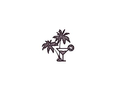 Palm Trees and Margaritas logo vintage texture margarita palm tree stamp icon