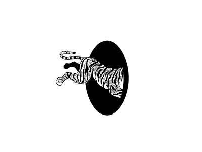 Tiger Jump mural halftone vintage illustration tiger