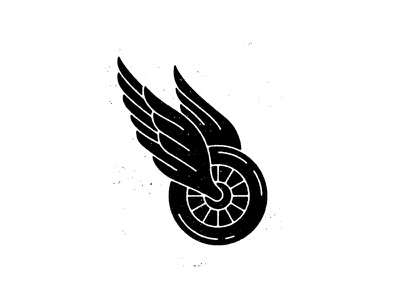 Winged Wheel detroit logo icon illustration tire wheel wing