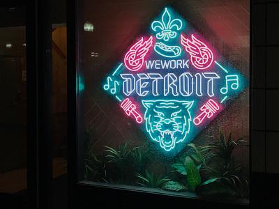 WeWork Detroit Neon Sign tiger illustration linework detroit signage neon