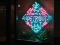 WeWork Detroit Neon Sign