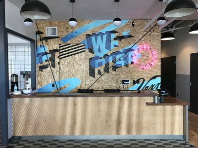 We Rise Mural - Detroit neon typography lettering rise mural detroit wework