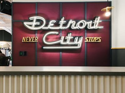 Detroit City Never Stops Neon wework vintage typography lettering detroit neon