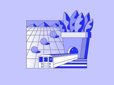 7 Train future space mountains basketball new york city nyc plant illustration subway train