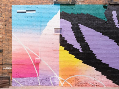 Bright Walls Mural Collaboration mural design abstract street art bright