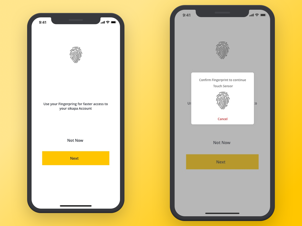 Fingerprint Setup flat ux app ui design