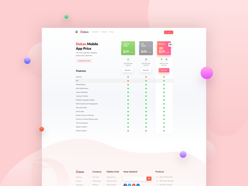 Pricing Page for Dokan App