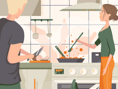 On kitchen green boy design cooking cook kitchen background style girl dribbble illustration