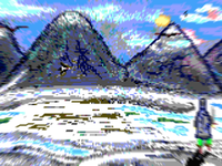 Pixel Art landscape With Blur