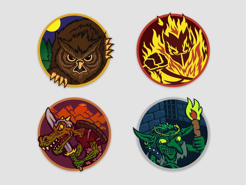 Monsters character illustration creatures monters circle vector rpg dnd goblin kobold elemental owlbear