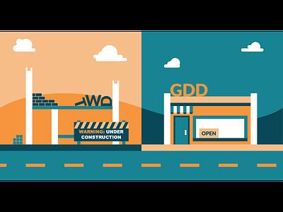 GDD vs TWD web design building orange blue gdd color illustration