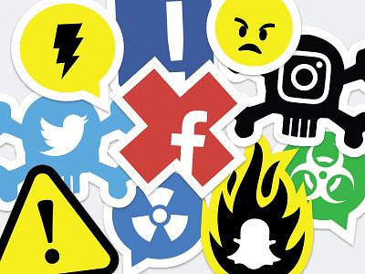 Social Media Stickers sticker social vector illustration