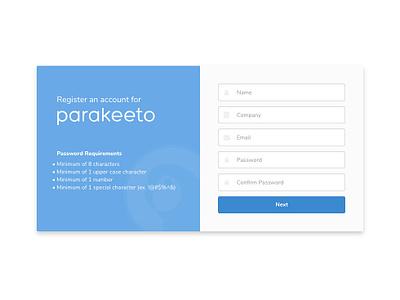 Parakeeto Sign Up ui blue sign up