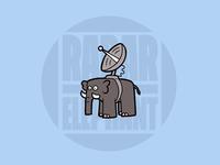 Radar Elephant Coaster cartoon grey illustration blue coaster elephant radar