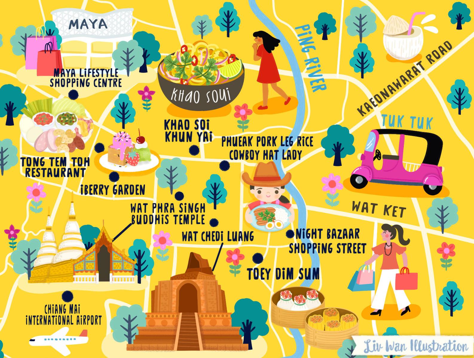 Chiang Mai Thailand Map Chiang Mai Thailand Map Illustration by Liv Wan on Dribbble