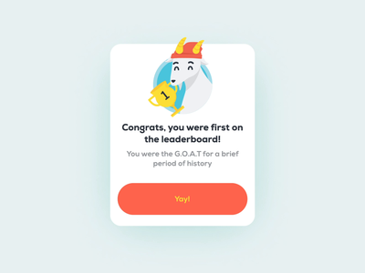 GOAT card animation 🐐 graphic design celebration vector stacks goat card design cards ui ux ui motion lottie character animation character animation illustrator illustration design