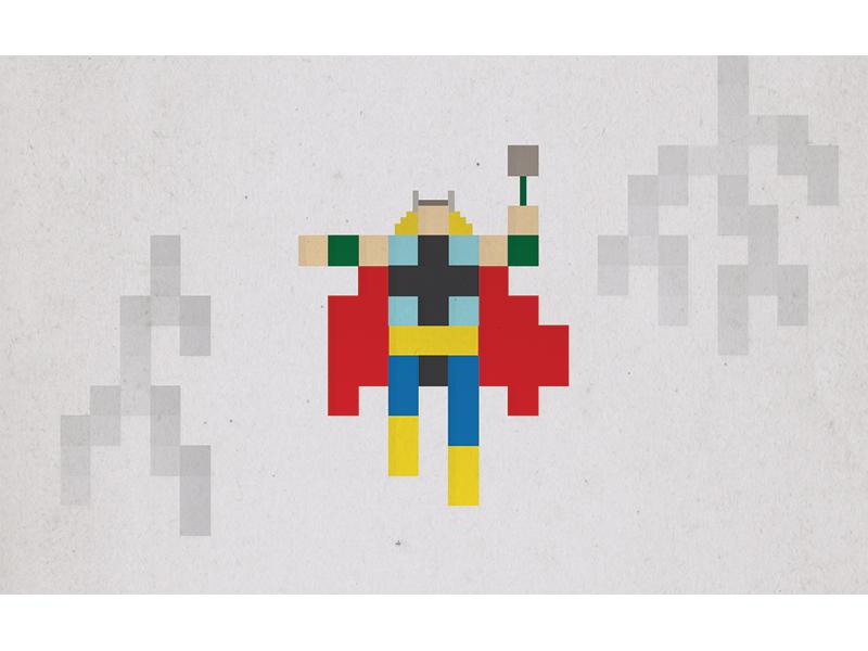 Thor pixel superhero thor marvel comic illustration minimal simple icon