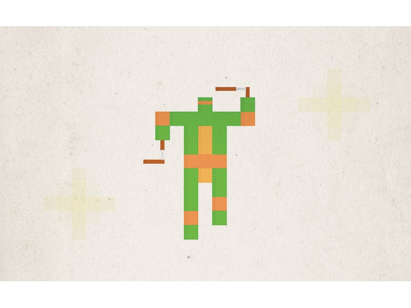 Simple Pixel Michelangelo simple minimal illustration tmnt teenage mutant ninja turtle retro 80s nostalgia childhood superhero pixel