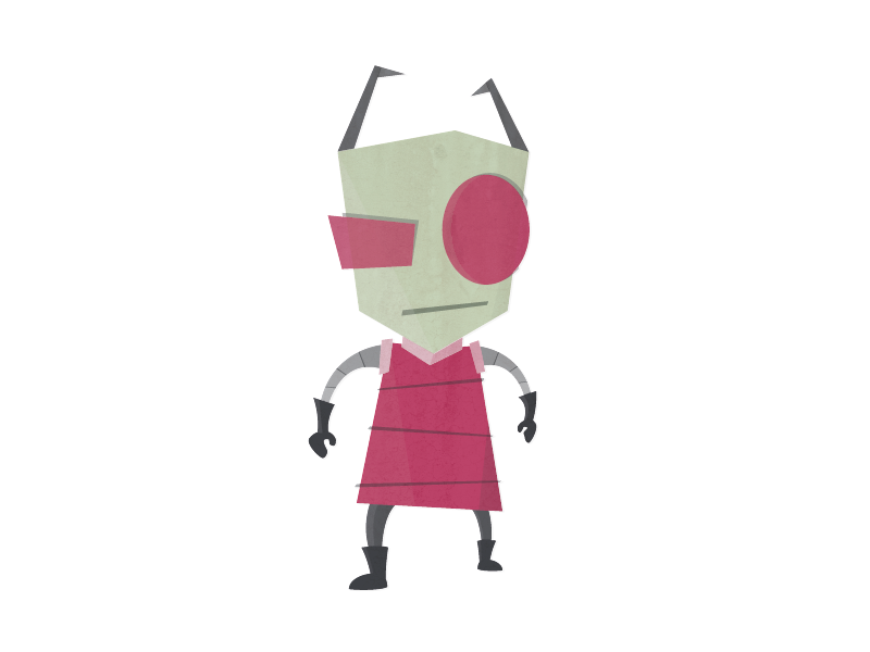 Zim invader zim space cartoon character flat illustration geek comic sci fi