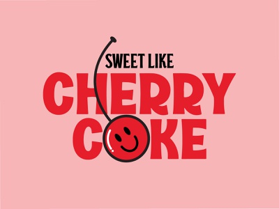 Sweet Like Cherry Coke typography logo illustration