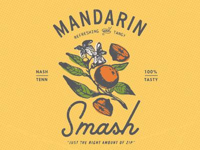 100% tasty cocktail nashville yellow orange oranges vodka lettering illustration