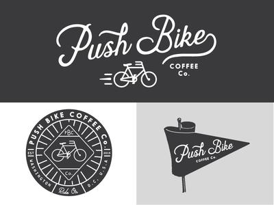 Ride On linework vintage retro badge pennant logo lettering illustration coffee bike bikes