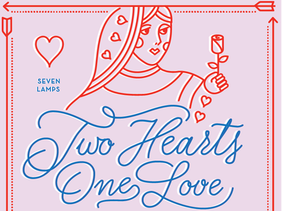 Two Hearts dinner heart valentines day poster pink cards queen valentine monoweight lettering illustration