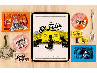 El Felix restaurant mexican postcard menu logo branding system cactus matches fire sunset coaster cat