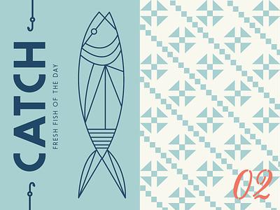 Here Fishy Fishy menu stencil pattern hook fish nantucket mediterranean geometric illustration