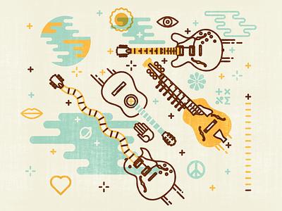 Guitars illustrator photoshop vector guitar flamenco jazz electric acoustic space festival helsinki universal