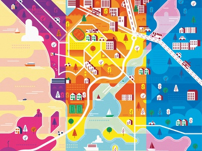 Munkkiniemi colour explorations colour salinero geometric illustrator vector finland helsinki px8