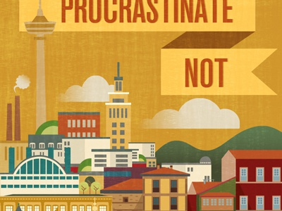 Procrastinate Not village town centre center tampere beach landscape building house tower finland spain procrastinate not illustrator photoshop gijon helsinki architecture city
