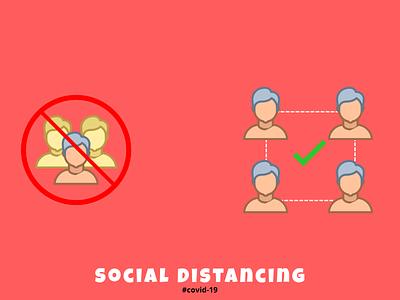 social distancing art icon flat vector digital art indonesia illustration design