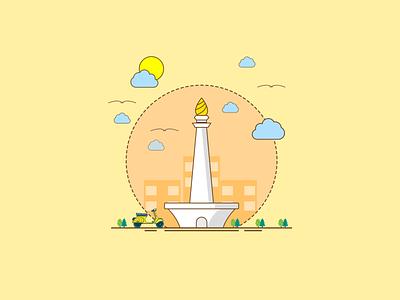 monas euy indonesia digital art vector illustration design