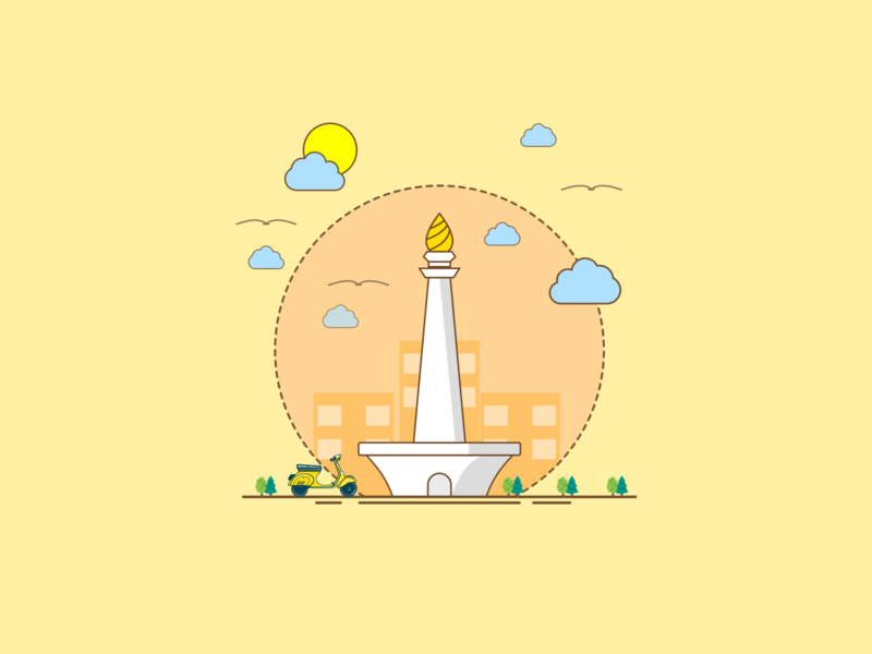 monas euy indonesia digital art vector illustration design