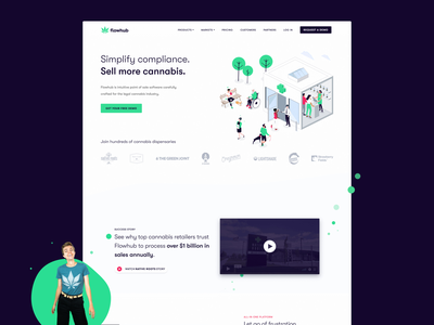 Flowhub Homepage UI ux  ui cannabis marijuana illustration saas homepage