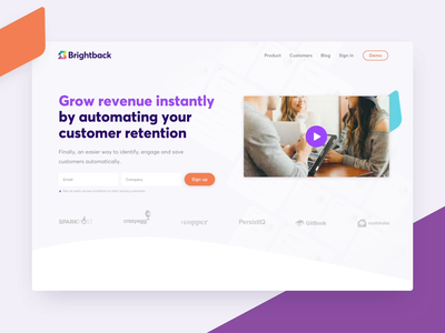 Brightback Marketing Website shapes animation illustration ui saas website marketing saas