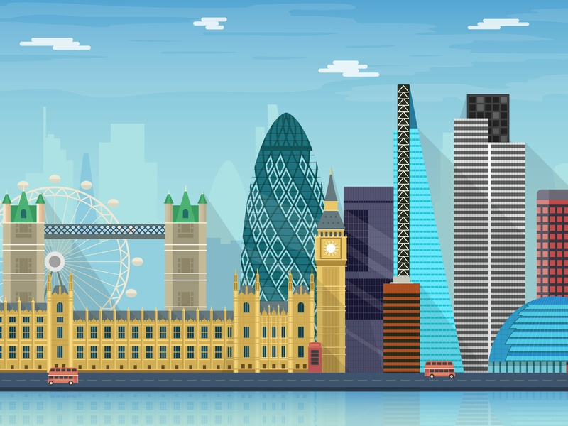 London vector illustration city skyline
