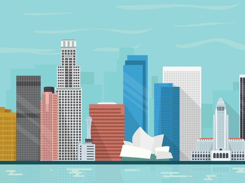 Los Angeles vector illustration city skyline