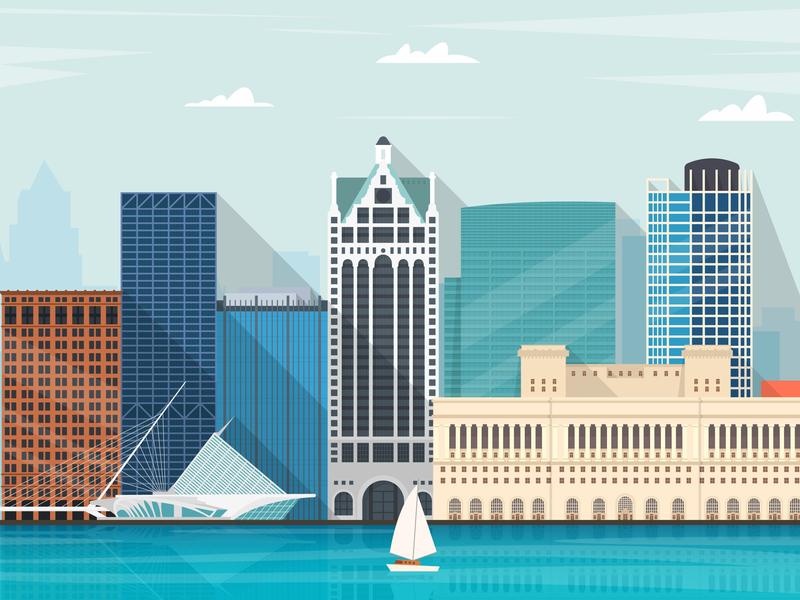 Milwaukee vector illustration city skyline