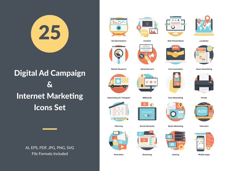 Digital Ad Campaign and Internet Marketing Concept Icons Set