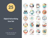 Digital Advertising Concept Icons Set