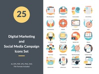 Digital Marketing and Social Media Campaign Concept Icons Set